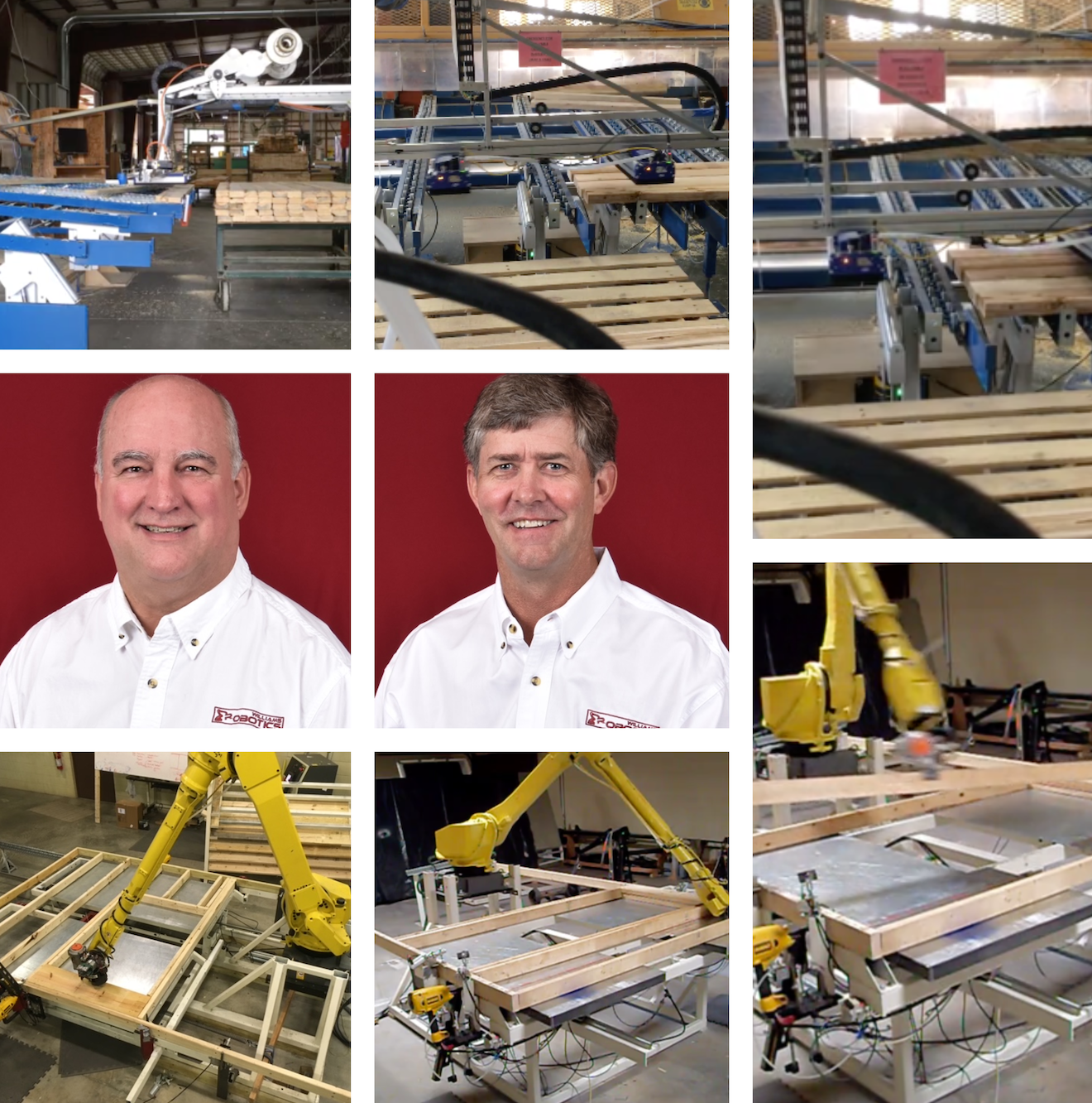 Jeff Williams and Walker Harris, co-founders of Williams Robotics, have adapted an auto assembly line robotic arm for homebuilding applications. Their robot assembles 2x4 or 2x6 stud walls ranging in height from 7 to 10 feet, while leaving rough openings for windows and doors. Images courtesy Williams Robotics