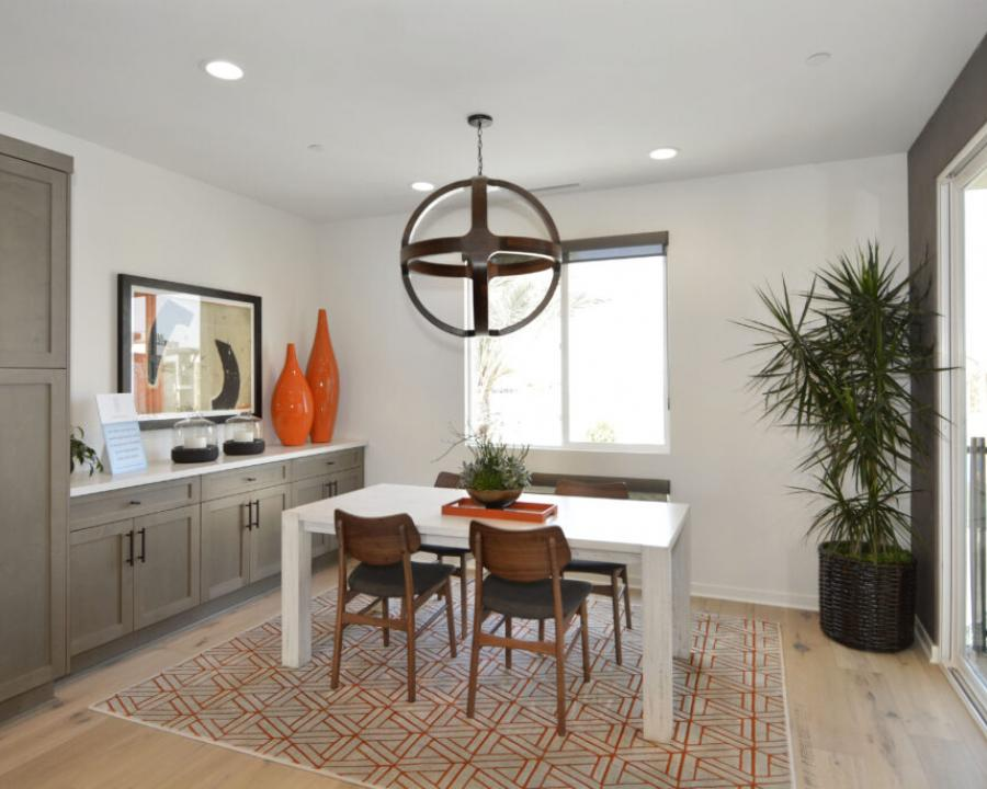 Buyers at Lighthouse by Taylor Morrison in Costa Mesa, Calif., can work in the informal dining room, which offers plentiful storage to keep work materials organized and within reach